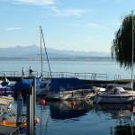 Blick vom Bootsanleger in Hagnau auf den Säntis